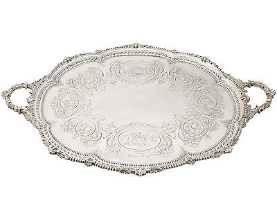 Antique Victorian Sterling Silver Tea Tray by Martin Hall & Co