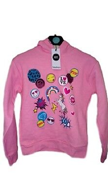 NEW Girls Kids Unicorn Emoji Pink Hoodie Hooded Jumper Age 5 6 7 8 9 10 11 12 13