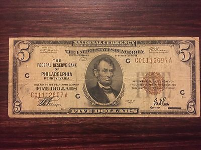 1929 $5 Five Dollar National Currency Note Federal Reserve Bank of Philadelphia
