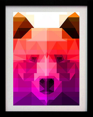 Crystal Pink Bear A3 Art Deco Animal Poster Print - Limited Edition Of 100