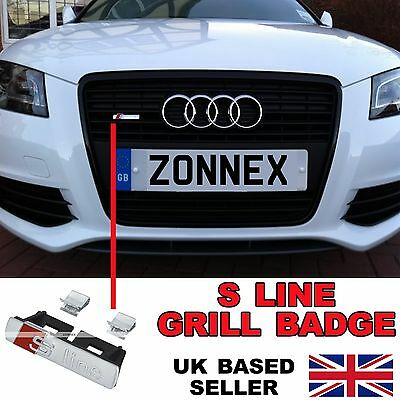 1 Pcs Front Grill S Line Sline Chrome Matt Silver Alloy Badge Decal For All Audi