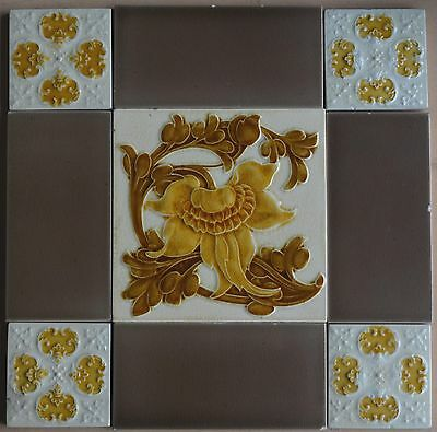 European Antique Art Nouveau Majolica 9-Set Tile C1900