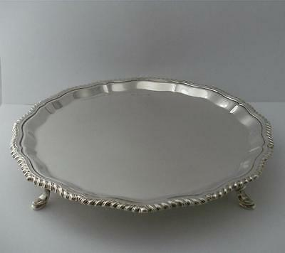SUPERB STERLING SILVER SALVER CARD TRAY DISH Sheffield 1966