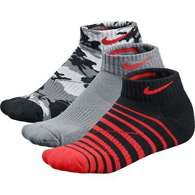 Nike Socks 3 Pairs Pack Boys Youths Tech Low Ankle SG0568 Size 5 to 8 U.K New