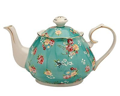 Gracie China by Coastline Imports Shabby Rose Porcelain 4-1/2-Cup Teapot Teal