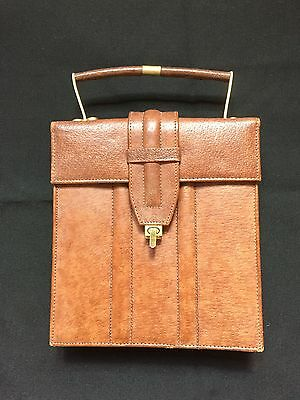 Vintage Art Deco 1930-1940 Brown Leather Brass Clasp Lady Handbag