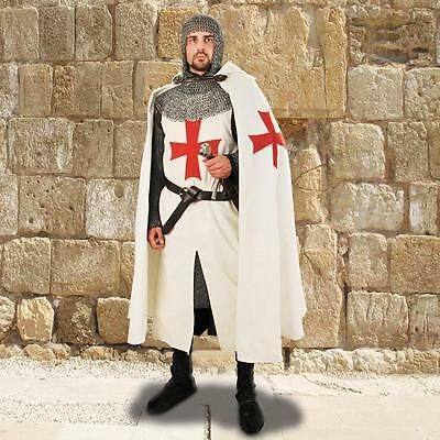 MEDIEVAL TEMPLAR KNIGHT Crusader Middle Ages Men Cotton CAPE CLOAK with HOOD New