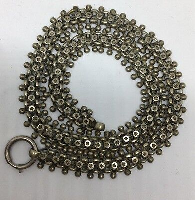 Antique Victorian Extra Heavy Large Silver Ball Details  Necklace Collar
