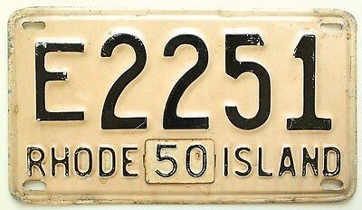 Vintage Rhode Island 1948 License Plate, 1950 Tab, E 2251, Mid-Century Antique