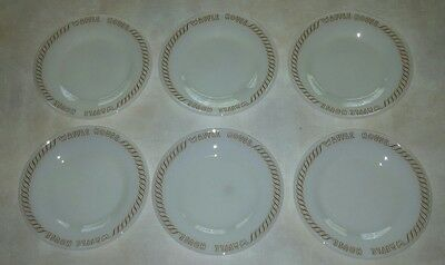 """VTG Waffle House 6.5"""" Plates Ultima Set of 6 Pieces Logo Scroll White Brown Rim"""