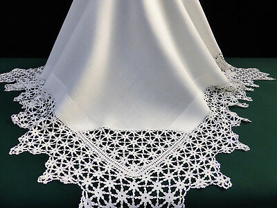 Antique Irish Linen Crisp White Tablecloth with Fabulous Deep Hand Crochet