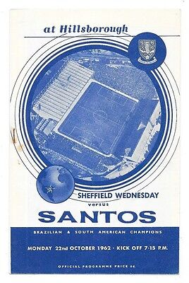 Sheffield Wednesday v Santos, 1962/63 - Friendly Match Programme.