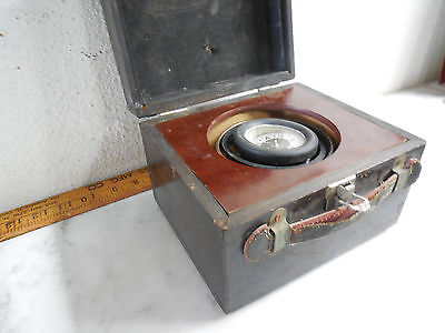 Old Vtg Antique Gymballed Wood Case WWII Box Compass Ship Navy Maritime Marine