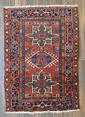 "SEMI ANTIQUE PERSIAN KARAJA SMALL RUG - 3'1"" x 4'5"" - heriz-merchant"
