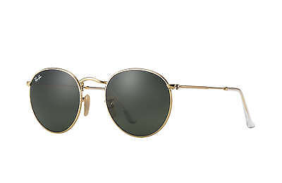 Ray-Ban RB3447 Round Metal 001 Gold Frame/Green Classic G-15 Lens 50mm