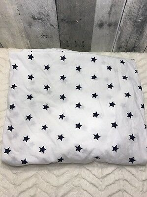 Pottery Barn Kids White Sheet with Blue Stars Fitted Crib Sheet in EUC MINT!