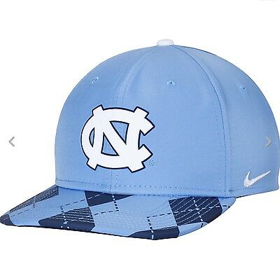 competitive price 94c64 6b1ab Nike DRI Fit UNC Carolina Tar Heels Argyle Legend Blue Navy Snapback Cap Hat