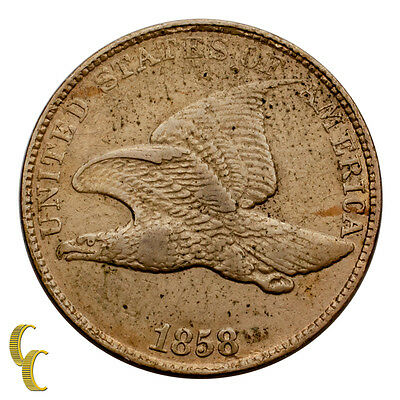 1858 Large Letters Flying Eagle Cent 1c Penny (Extra Fine, XF Condition)