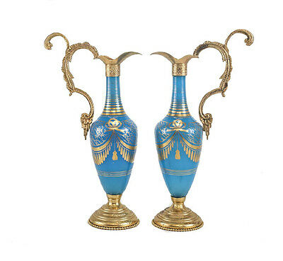 Pair French Blue Opaline Glass & Gilt Bronze Mounted Ewers, 1st Half 20th C