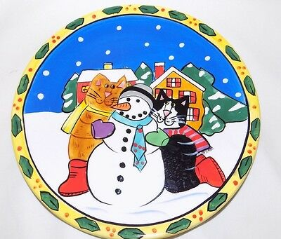 """Catzilla By Candace Reiter Cats Plate Winter Snowman Christmas 8"""""""