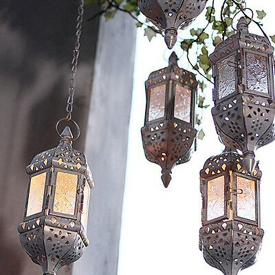 Glass Moroccan Lantern Tea Light Candle Style Holder Home Hanging Decor
