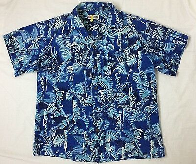 50's 60's - Vintage Shaheen Honolulu Blue Hawaiian Warrior Print - L