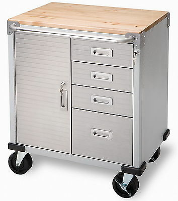 New Stainless Steel 4 Drawer Rolling Tool Chest Box Toolbox Cabinet Wood Top