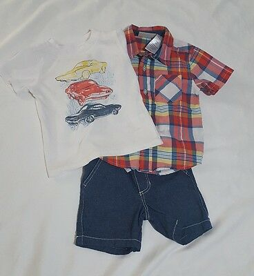 Toddler Boys Size 18M Kids Headquarters 3 Piece Shorts Outfit Red Plaid Shirt