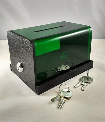Double Lock Tip Box, Donation Box, Money Box, Counter Top Tip Box! GREEN!!