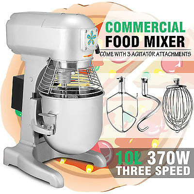 Brand New Commercial 10 Litre Planetary Mixer 370W Motor Plug 3 Attachments AU