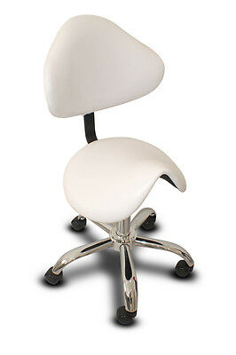 Saddle Chair/stool With Back - White & Chrome Base