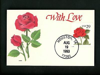 US FDC #2490 Ginsburg Custom Crafted Card 1993 Houston TX Rose