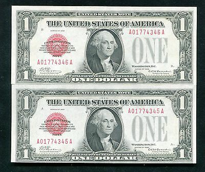 (2) Consecutive 1928 $1 Red Seal Legal Tender United States Notes Uncirculated