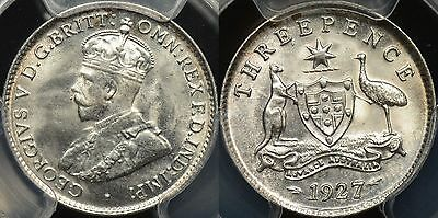 Australia 1927m Threepence 3d Gem Uncirculated PCGS MS64+