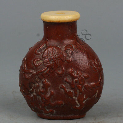 Chinese Exquisite Hand-carved beast carving gourd snuff bottle