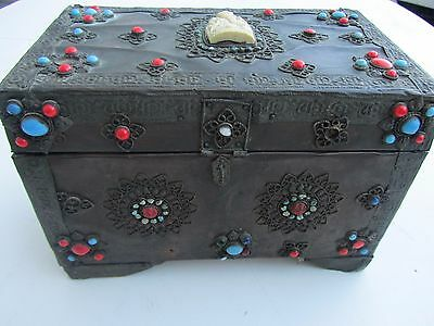 Antique Bronze Chinese Tibetan TRINKET Case BOX Real Coral Turquoise Ganesha Old