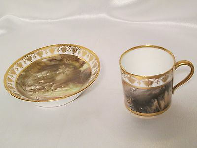 Antique 19Th C Sevres Cabinet Cup & Saucer Hand Painted Ca 1810 Unusual Design