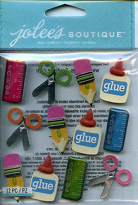"Jolee's Boutique ""SCHOOL SUPPLIES"" Dimensional Scrapbooking Sticker - F9"