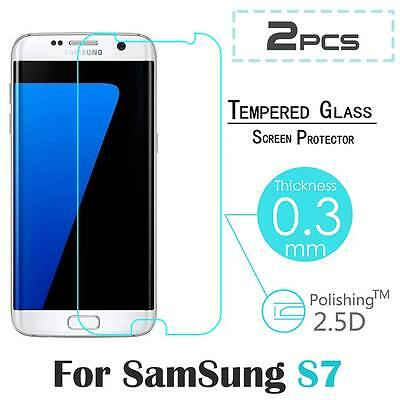 2X 9H Premium Tempered Glass Guard Screen Protector Film For Samsung Galaxy S7