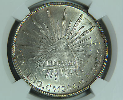 1904 CN MH Mexico Silver Peso NGC MS 62 Toned