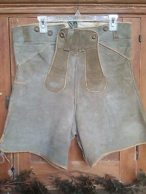 "VINTAGE MEN'S GERMAN LEDERHOSEN OLIVE GREEN SUEDE in SIZE 34"" WAIST"