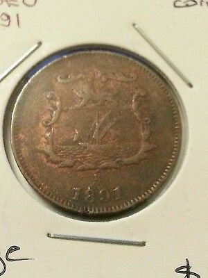 British North Borneo 1891 Half Cent  F+