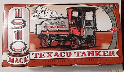 ERTL 1910 MACK TEXACO TANKER Locking Coin Bank w/Key 1995 NEW IN BOX, FREE SHIP!