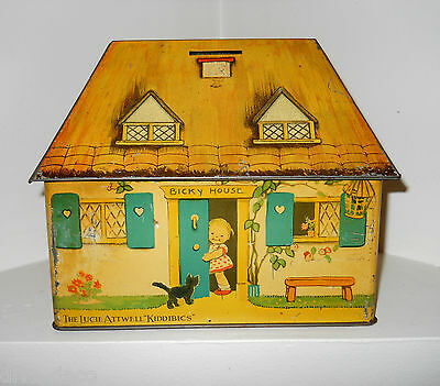 CRAWFORD c.1933  MABEL LUCIE ATTWELL - BICKY HOUSE-  Tin Plate Money Box Tin