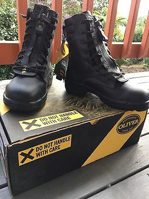 Oliver Fire Fighters Lace Up Zip Boot Black Leather BNWT