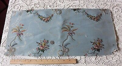 Antique French Blue Silk Floral Brocade Fabric c1840-1860~18thC Style