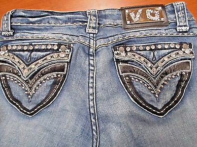 V.O. Women's Jeans Waist 27 Inseam 31 1/2 inches Dark Wash Boot Cut BLING