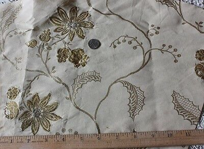 Antique French Gold Brocaded Cream Silk Fabric Museum Deaccessioned Fabric c1860
