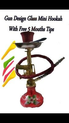 "GUN Smoking Water Pipe 7.5"" Hookah Tobacco Bowl,WITH FREE 5 MOUTH TIPS ONLY BLUE"