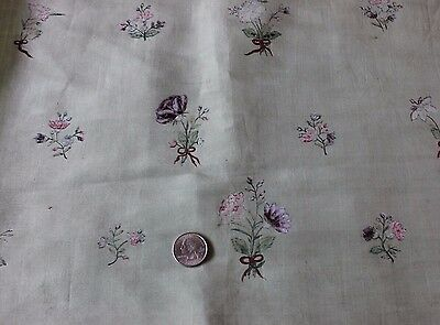 Rare 18thC French Hand Painted Florals & Bows Silk Dress Fabric~Dolls,Design